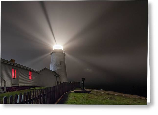 Foggy Night At Pemaquid Point Lighthouse Greeting Card