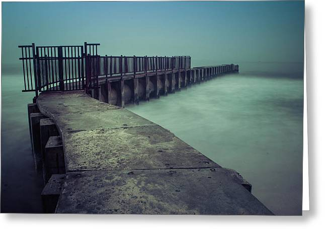 Foggy Night At Toes Beach Greeting Card