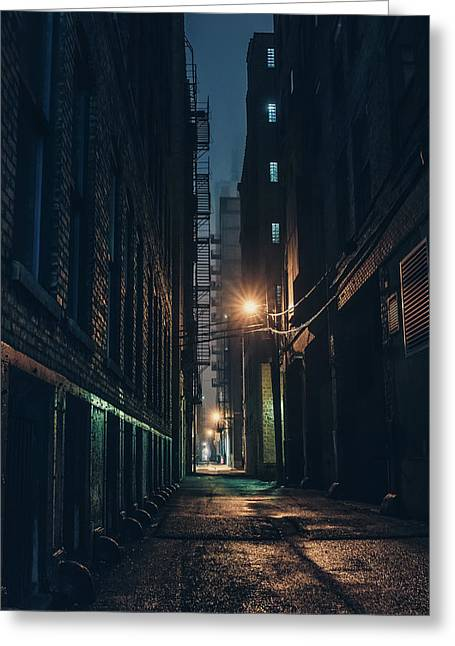 Foggy Night Chicago Greeting Card