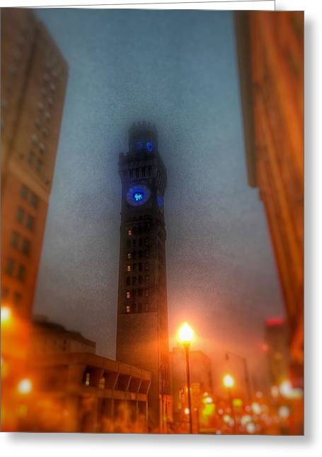 Foggy Night - The Bromo Seltzer Tower Greeting Card by Marianna Mills