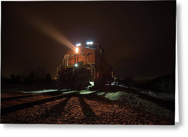 Greeting Card featuring the photograph Foggy Night Train  by Aaron J Groen