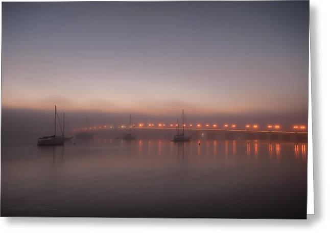 Foggy Nights Of Lights Greeting Card