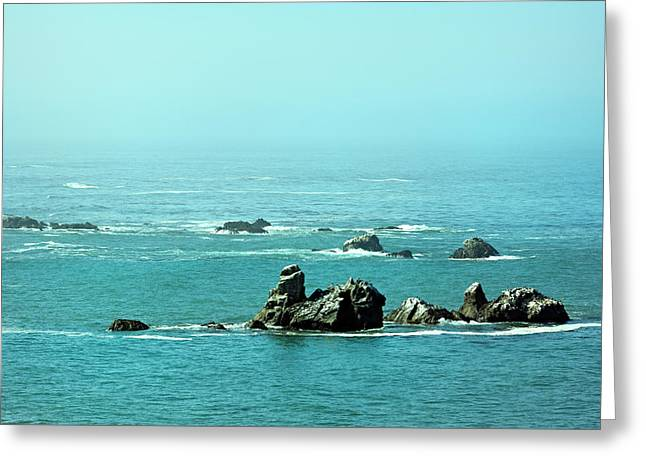 Sunny Blue Pacific Ocean Along The Oregon Coast Greeting Card