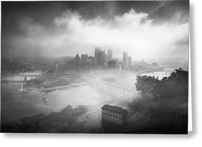 Greeting Card featuring the photograph Foggy Pittsburgh  by Emmanuel Panagiotakis