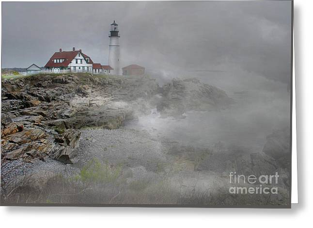 Foggy Portland Head Greeting Card