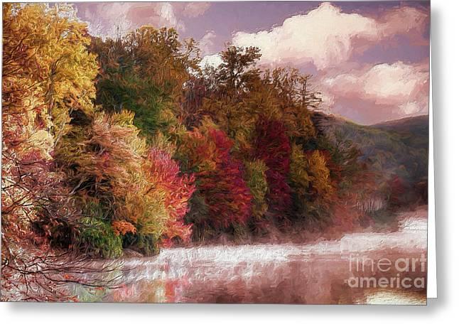 Foggy Price Lake - Autumn In The Blue Ridge Ap Greeting Card by Dan Carmichael
