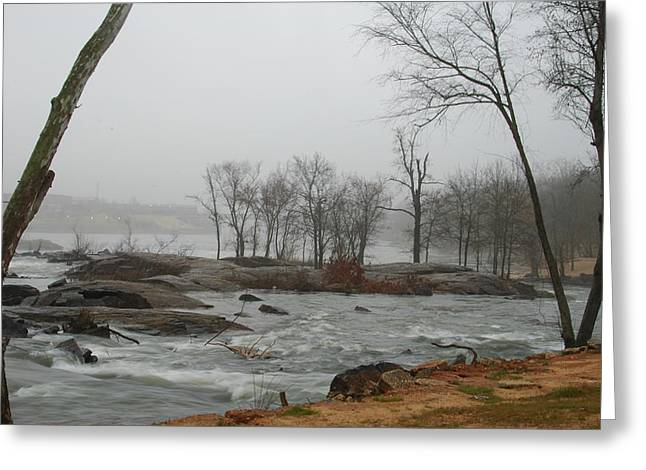 Foggy River Greeting Card by James Eugene  Moore