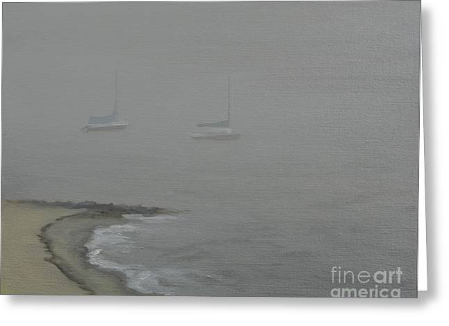 Foggy Shore Greeting Card by Paul Walsh