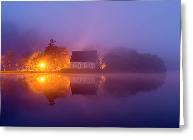 Foggy St. Finbarrs Oratory, Gougane Barra, Cork Greeting Card
