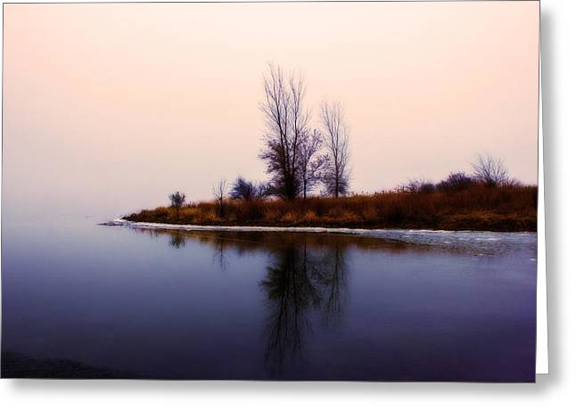 Foggy Sunrise Greeting Card by Mike Benkis