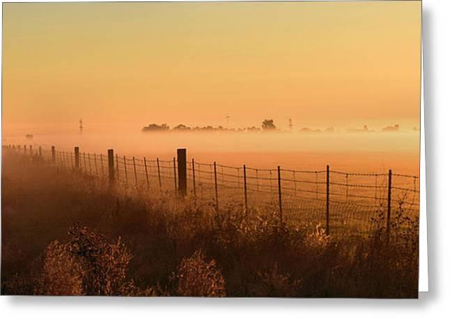 Foggy Sunrise On Hawkins Rd Greeting Card