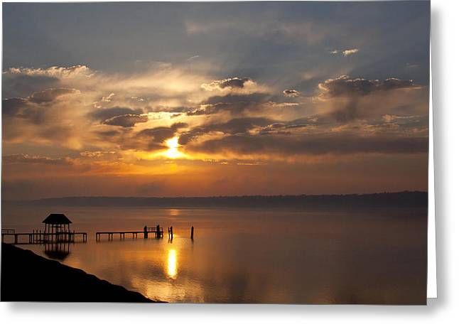 Foggy Sunrise On The James Greeting Card by Barbara Houston