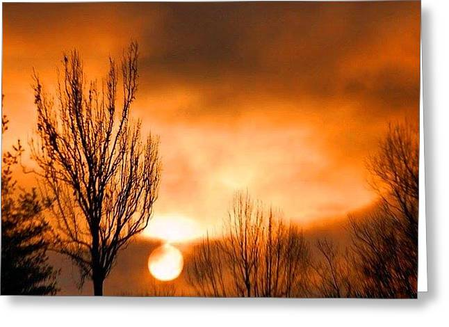 Foggy Sunrise Greeting Card by Sumoflam Photography