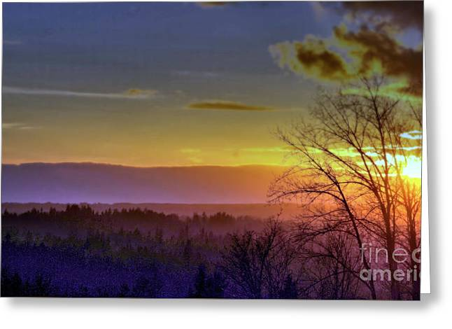 Foggy Sunset Greeting Card by Victor K