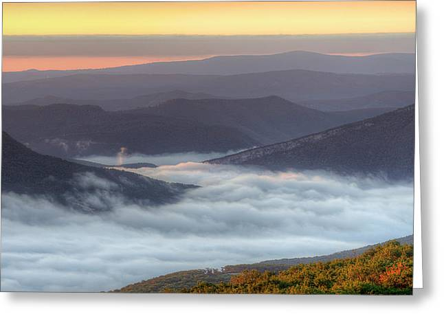 Foggy Valley Morning Greeting Card by Michael Donahue