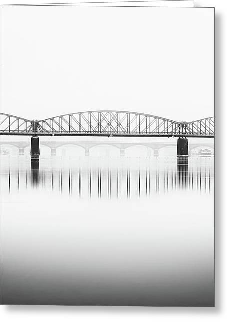 Foggy Winter Mood At Vltava River. Reflection Of Bridges In Water. Black And White Atmosphere, Prague, Czech Republic Greeting Card