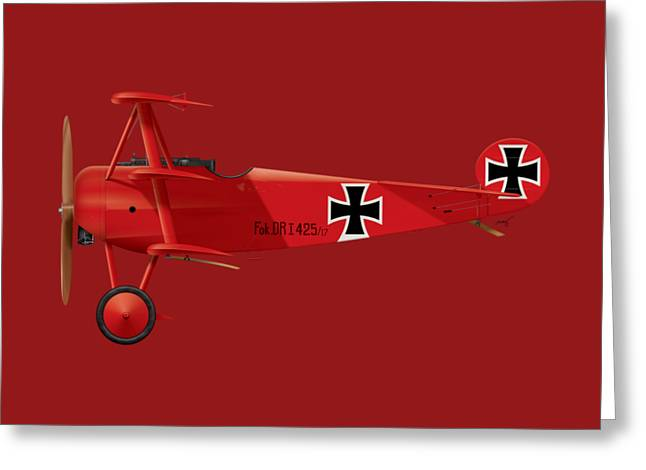 Fokker Dr.1 - The Red Baron - March 1918 Greeting Card by Ed Jackson