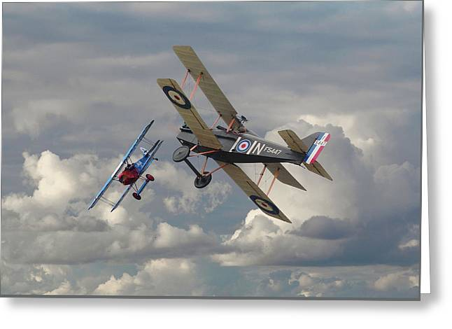 Fokker Dvll And Se5 Head To Head Greeting Card by Pat Speirs