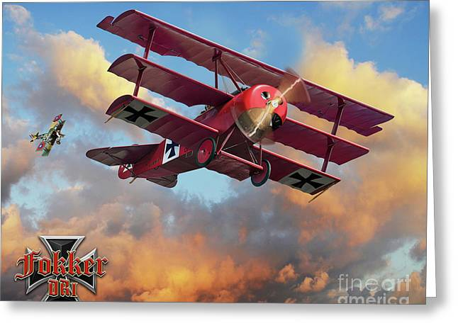 Fokker In A Dog Fight Greeting Card by Larry Grossman