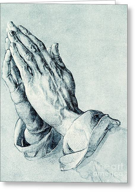Folded Hands Of An Apostle Greeting Card by Albrecht Durer