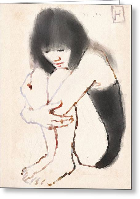 Sumi Greeting Cards - Folded Woman Greeting Card by H James Hoff