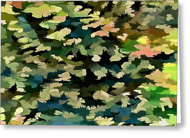 Foliage Abstract In Green, Peach And Phthalo Blue Greeting Card by Tracey Harrington-Simpson