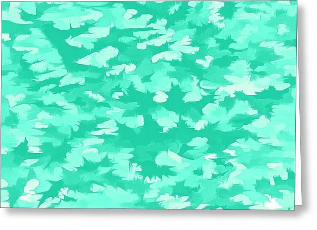 Foliage Abstract  Pop Art Aqua Greeting Card by Tracey Harrington-Simpson