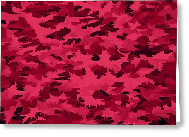 Foliage Abstract Pop Art Blush Red Greeting Card by Tracey Harrington-Simpson