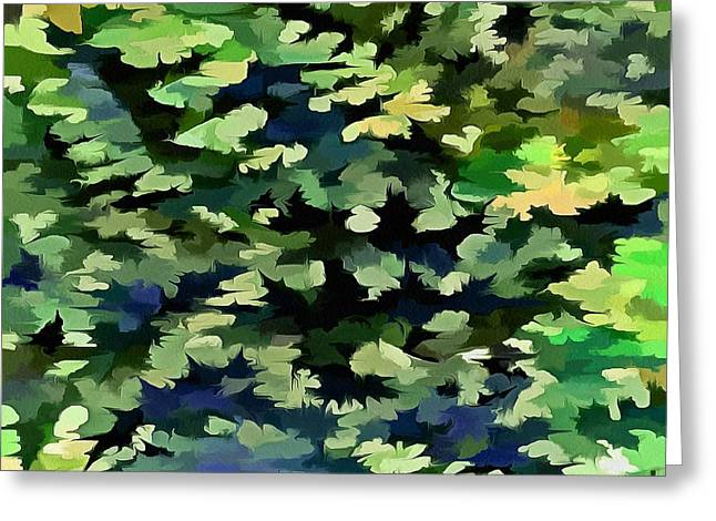 Foliage Abstract Pop Art In Green And Blue Greeting Card by Tracey Harrington-Simpson