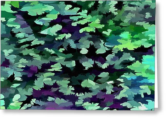 Foliage Abstract Pop Art In Jade Green And Purple Greeting Card by Tracey Harrington-Simpson