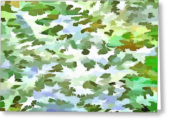 Foliage Abstract Pop Art In White Green And Powder Blue Greeting Card by Tracey Harrington-Simpson