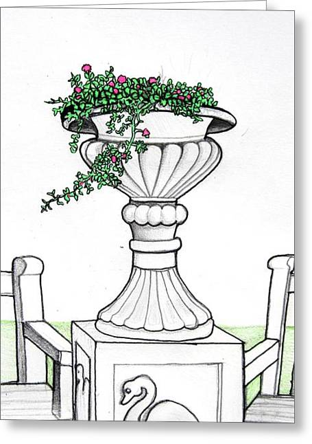 Greeting Card featuring the drawing Foliage Fountain by Mary Ellen Frazee