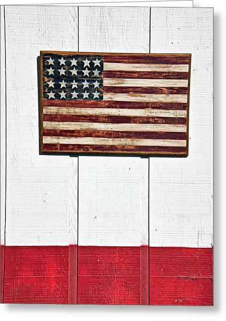 Concept Photographs Greeting Cards - Folk art American flag on wooden wall Greeting Card by Garry Gay