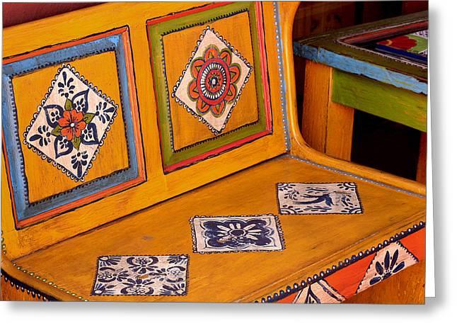 Folk-art Bench Greeting Card