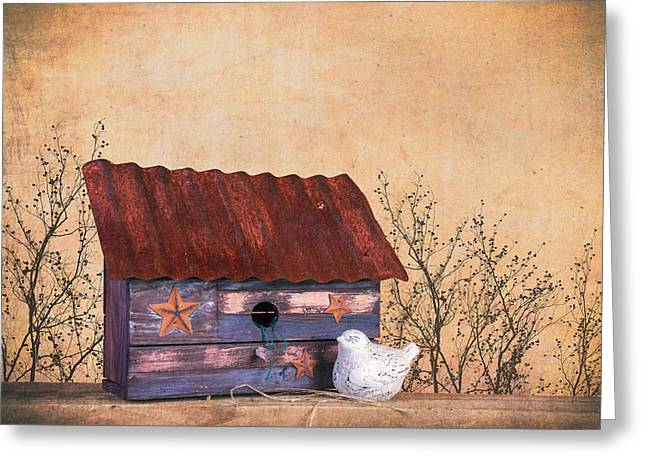 Folk Art Birdhouse Still Life Greeting Card by Tom Mc Nemar