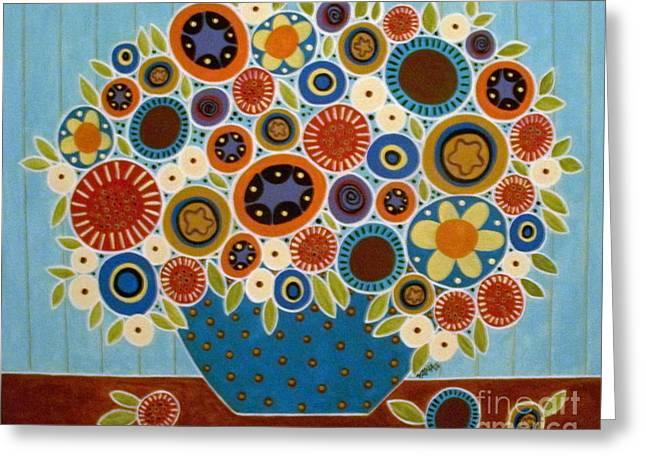 Folk Blooms Greeting Card by Karla Gerard