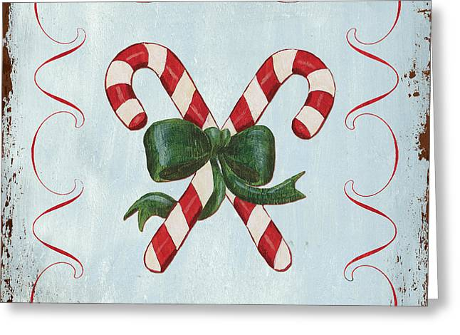 Folk Candy Cane Greeting Card by Debbie DeWitt