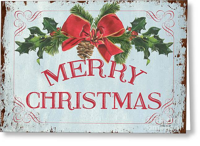 Folk Merry Christmas Greeting Card by Debbie DeWitt
