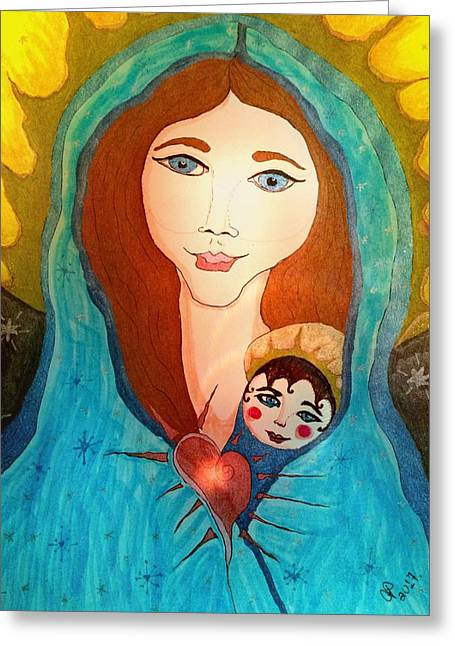 Folk Mother And Child Greeting Card
