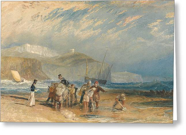 Folkestone Harbour And Coast To Dover  Greeting Card by Joseph Mallord William Turner