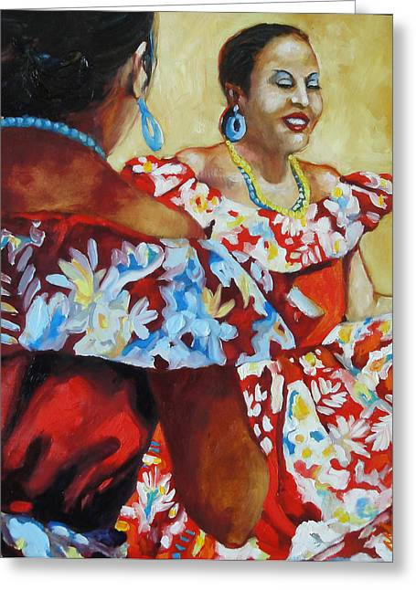 Folklorica II Greeting Card by Monica Linville