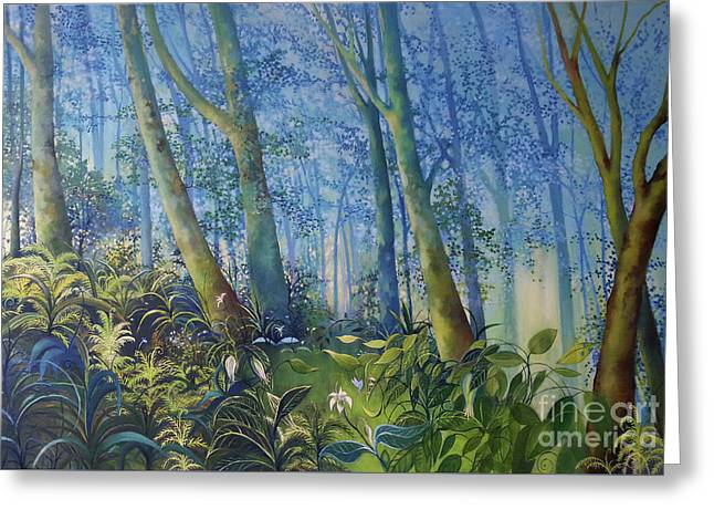 Follow Me Oil Painting Of A Magic Forest Greeting Card