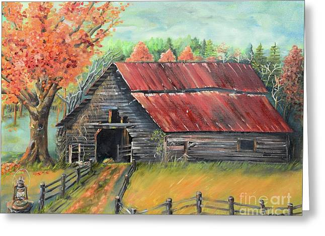 Greeting Card featuring the painting Follow The Lantern - Early Morning Barn- Anne's Barn by Jan Dappen