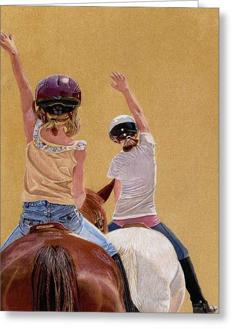 Follow The Leader - Horseback Riding Lesson Painting Greeting Card