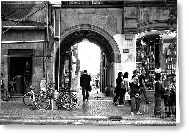 Follow The Light In Amsterdam Mono Greeting Card by John Rizzuto