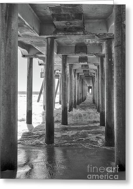 Greeting Card featuring the photograph Follow The Lines Under Huntington Beach Pier by Ana V Ramirez