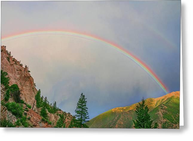 Follow The Rainbow To The Majestic Rockies Of Colorado.  Greeting Card by Bijan Pirnia