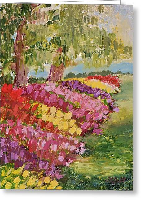 Follow The Tulips Greeting Card by Margaret Bobb