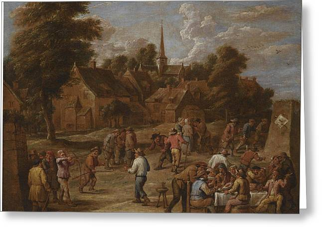 Follower Of David Teniers The Younger A Village Kermesse With Peasants Making Merry And Shooting Wit Greeting Card