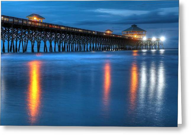 Folly Beach Pier At Blue Hour Charleston South Carolina Greeting Card